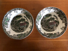 "Two (2) Johnson Bros Friendly Village Cereal Bowls The Old Mill 6"" Round"