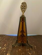 Vintage Mid Century Hollywood Regency Gold Brass and Glass Perfume Bottle