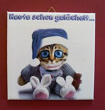 Dekofliese Wandbild Bild Geschenkidee Mitbringsel Grinsekatze (010DP) Handarbeit