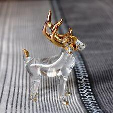 DEER HORN HAND BLOWN GLASS ANIMAL FIGURINE ART GOLD TRIM DECORATE