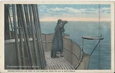 Postcard US Navy Battleship Rangefinder at his Post in Fighting Mast ca1915-20s