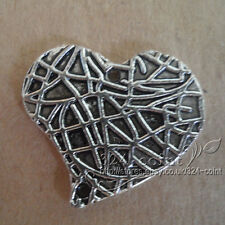 P114 6pcs Tibetan Silver Charms 2-Sided Love Heart retro Accessories Wholesale
