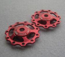 2 Pulley Jockey Wheels 11T Anodised Sealed Bearing Shimano Sram XX XO X9 X7 Red