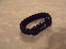 Survival Paracord Bracelet:  Ferro Rod/Scraper Buckle w/Whistle - BLACK 9""