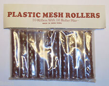 "Plastic Mesh Hair Rollers (Brown) 3""x1/2""  w/ picks 10pk ( 4 PACKS )"