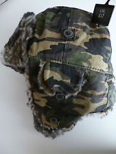 Next mens trapper hat green camouflage camo faux fur size Large - X Large NEW