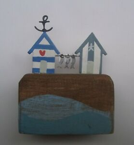 Beach Huts With Fish Wooden Decoration  Quayside Harbour Fishing home gifts