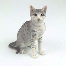"""Shorthair Tabby Cat Sitting - Spotted Gray - Figurine Miniature 4.25""""H New"""