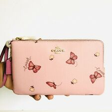 Coach Large Double Zip Wallet Floral Butterflies Print Purse Blossom Pink NWT