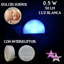 LUZ NOCHE LAMPARA LED ENCHUFE INTERRUPTOR HABITACION INFANTIL DORMIR OSCURIDAD