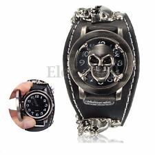 Men Women Wrist Watch Vintage Punk Gothic Skull Black Leather Band Bracelet Gift