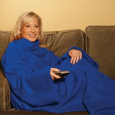 SLEEVED FLEECE BLANKET, SNUGGIE WITH POCKETS,SUPPER SOFT SNUGGLE WRAP BLUE NEW