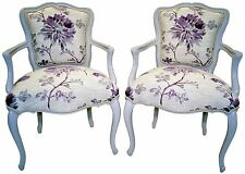 Stunning Pair of French Louis XV Style Painted Fauteuils Decorator's Chairs