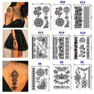 Noir Dentelle Henné Pochoir Corps Art Tatouage Temporaire Autocollant Sticker