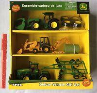 ERTL John Deere Deluxe Vehicle Gift Set 3 Tractor & Implement Farm Set 35867 NEW