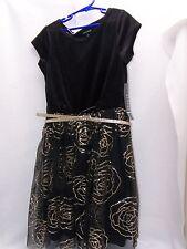 New George UK Girls Black Gold Flower Glitter Shift Dress Size US 8.5 plus tall