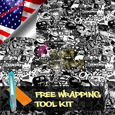 "*12""x60"" JDM Black White Stickerbomb Graffiti Vinyl Sticker Wrap Decal Sheet DIY"