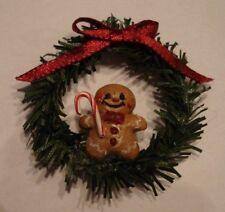 Dollhouse Miniature Artisan Gingerbread Man Candy Kane Christmas Wreath 1:12