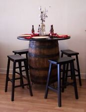 "White Oak Whiskey Barrel Table-C/Stand 42"" Tabletop (4) 29"" Black Bar Stools"
