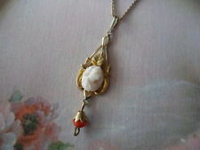 ANTIQUE VICTORIAN VINTAGE GOLD CHAIN NECKLACE CAMEO and CORAL LAVALIER PENDANT