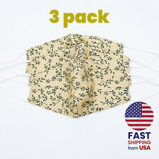 [3 PACK] Botanical Cream Green Handmade Washable Cotton Face Mask 2 Layer Cover