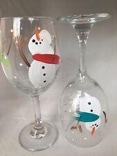 2 Hand-Painted CUTE Snowmen Wine Glasses