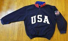 MEDIUM USA Polo by Ralph Lauren Blue Fleece Pullover Jacket 1/4 Zip Hood