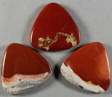 THREE (3) NATURAL RED RIVER LACE JASPER 40MM TRIANGLE DROP BEADS (103)