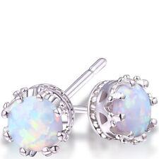 Sevil 18K White Gold Plated Created Fire Opal Crown Stud Earrings