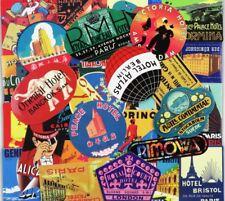 55 Travel Luggage Suitcase Retro Style Vinyl Stickers Vintage, World Hotel Names
