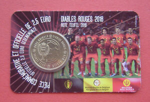 Belgium 2018 The Red Devils 2.5 Euro Brass Coin in Card