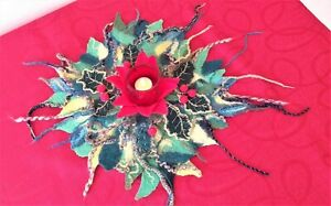 Handmade felted Christmas Gift Table Placemat, merino wool felted centre piece