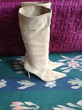 "Vintage 80s look SHELLYS LONDON sloucher suede boots, 5, 38,  3.5"" heels vgc"