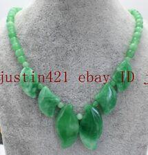 100% Natural Green Jade Gemstone Beads Necklace 18'' AAA