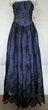 NWT VTG Jessica McClintock Black Lace & Periwinkle Formal Prom Dress Ball Gown 4