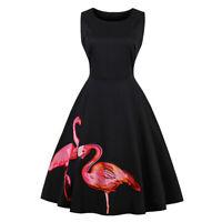 Plus Size Women Flamingo Embroidery Sleeveless 50s Vintage Cocktail Party Dress