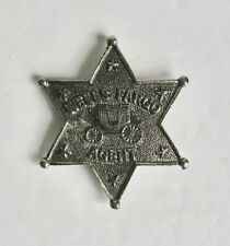 Vintage Reproduction Wells Fargo Stagecoach Agent Badge Star Bank Pewter Metal