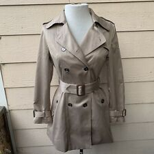 Burberry London Trench Coat Belt Long Sleeve Women Casual Tan Pockets Jacket S