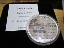 2005 RMS TITANIC COLOURED 1oz .999 SILVER EAGLE DOLLAR WITH Box/COA NEWS REPORTS