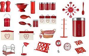 Kitchen Essentials Tea, Coffee,Sugar ,Cutlery Set, Clock Spoon Accessories - RED