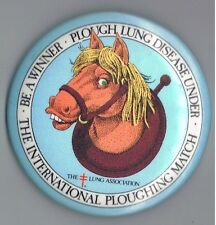 "Vintage International Plough Match 3"" Pinback Button Canada Lung Disease Horse"