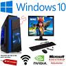 Fast Gaming PC Computer Bundle Monitor i5 Quad Core 8GB 1TB Win 10 2GB GT710 WOW