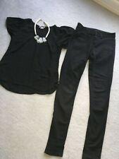Black office women bundle clothes Oasis jeans size 10, H&M top blouse size 8-10