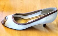 California Magdesians Canvas w/Leather Trim Peeptoe pump shoes. Size 14N. USA