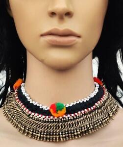 Boho Handmade Afghan CHOKER Old Beads Tassel Banjara Tribal Gypsy Necklace