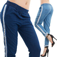 Pantaloni donna casual riga argentata relaxed effetto jeans sexy nuovi AS-311