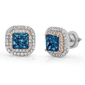 2.52 Princess Round Halo Natural London Blue Topaz Stud Earrings 14k 2 tone Gold
