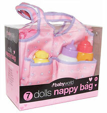 Kids 7 Piece Dolls Nappy Bag With Feeding Bottles Accessories Etc New