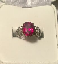 Sterling Silver 925 Red Ruby 8x10mm Big Ring Size 6