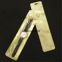 50 Pack Self Sealing Golden Plastic Bags Watch Display Storage Pouch Case 27x6cm